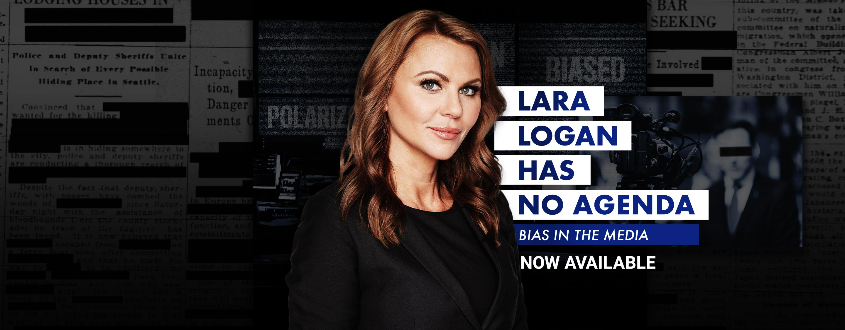 Star of the show, Lara Logan, looking pensive outside the U.S.-Mexico border.